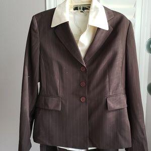 Kasper 3 piece Brown Pinstripe Skirt Suit